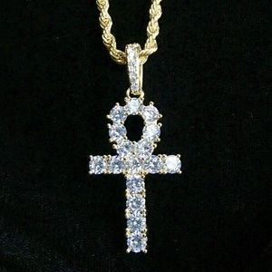 Other - ANKH FULL DIAMONDS CZ 18K GOLD ROPE CHAIN ITALY!